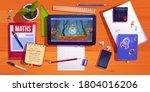 student desk top view  teenager ... | Shutterstock .eps vector #1804016206