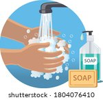 wash your hands with soap and...   Shutterstock .eps vector #1804076410