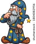 cartoon wizard thinking hard... | Shutterstock .eps vector #1804082956