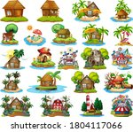 set of different bangalows and... | Shutterstock .eps vector #1804117066