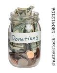 Donation Jar On White Background