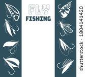fly fishing frame. hand drawn... | Shutterstock .eps vector #1804141420