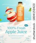 fresh apple juice ad in 3d... | Shutterstock .eps vector #1804153423