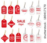 sale labels big set in red and... | Shutterstock . vector #180417170