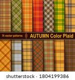 autumn  set  tartan seamless...   Shutterstock .eps vector #1804199386