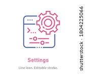 settings outline icon on white... | Shutterstock .eps vector #1804225066