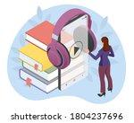woman listening to an audiobook.... | Shutterstock .eps vector #1804237696