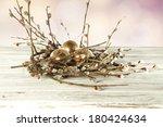 gold eggs and desk  | Shutterstock . vector #180424634