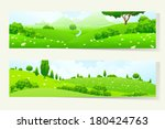 two green horizontal banners... | Shutterstock .eps vector #180424763