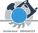 icon of circular saw. flat...