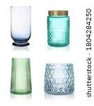 Set Of Empty Glass Vases On...