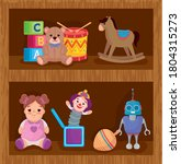 kids toys  on the wooden... | Shutterstock .eps vector #1804315273