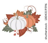 autumn pumpkin and leaves... | Shutterstock .eps vector #1804319596