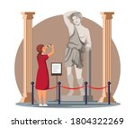 excited woman photographing...   Shutterstock .eps vector #1804322269
