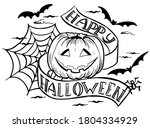 Halloween Pumpkin And Letterin...