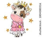 cute cartoon princess cow on a...   Shutterstock .eps vector #1804380316
