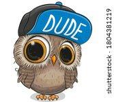Cute Cartoon Owl In A Cap On A...