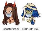 halloween 2020 kawaii devil and ... | Shutterstock .eps vector #1804384753