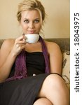 beautiful young woman sitting... | Shutterstock . vector #18043975