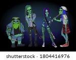 zombie rock band in cartoon...   Shutterstock .eps vector #1804416976
