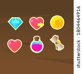game icons set diamond heart...