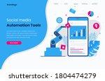 social media automation landing ... | Shutterstock .eps vector #1804474279
