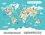 the world map with cartoon... | Shutterstock .eps vector #1804490233