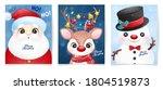 cute doodle santa claus set for ... | Shutterstock .eps vector #1804519873