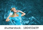 young blond girl in blue dress... | Shutterstock . vector #180453659