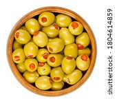 pickled small green olives ...   Shutterstock . vector #1804614859