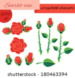 scarlet rose scrapbook elements.... | Shutterstock .eps vector #180463394