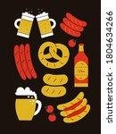 beer and sausages poster hippie ... | Shutterstock . vector #1804634266