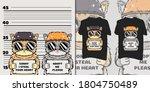 cute cat prisoner for t shirt | Shutterstock .eps vector #1804750489