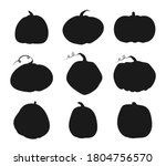 autumn pumpkin black silhouette ... | Shutterstock .eps vector #1804756570