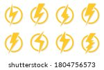 yellow lightning bolt icons set.... | Shutterstock .eps vector #1804756573