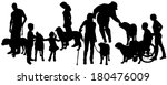 Stock vector vector silhouette of people with a dog on a white background 180476009