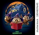 owls with wizard hat in... | Shutterstock .eps vector #1804809640
