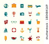 set of flat style travel icons... | Shutterstock .eps vector #180484169