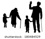 vector silhouette of family on... | Shutterstock .eps vector #180484529