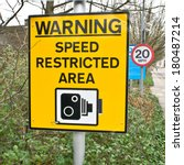 yellow warning sign for speed... | Shutterstock . vector #180487214