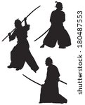 samurai silhouettes  japanese...   Shutterstock .eps vector #180487553