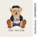 yes you can slogan with cute... | Shutterstock .eps vector #1804888039