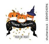 happy halloween. pumpkins with... | Shutterstock .eps vector #1804924096
