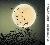 bat. flying bat halloween...   Shutterstock .eps vector #1804939873