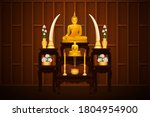 Golden Buddha Statue And Altar...