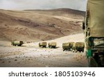 Ladakh region. Military Truck Convoy on the high mountain Leh - Manali highway on Jammu and Kashmir, Nothern India