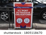 Small photo of Marseille, France - August 25, 2020 : A sign informing passers-by about the obligation to wear face masks in Marseille. Following an upsurge in the coronavirus (COVID-19) epidemic in France, 21 depart