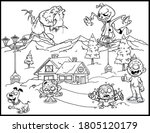 halloween coloring page   black ... | Shutterstock .eps vector #1805120179