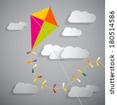 Paper Kite On Sky With Clouds   ...