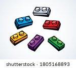 closeup vibrant meccano puzzle... | Shutterstock .eps vector #1805168893